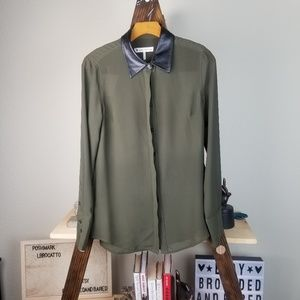 House of Harlow 1960 Olive Vegan Leather Button Up